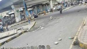 إنهيار أرضي جزئي جوار جسر جولة تعز في صنعاء