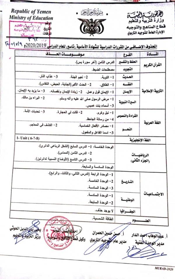 صنعاء وزارة التربية والتعليم تعلن المحذوفات والمقرر لشهادة الاساسية والثانوية سقطرى بوست
