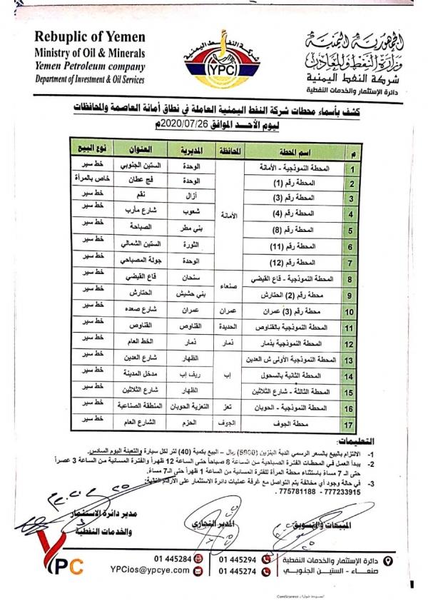 صنعاء ... شركة النفط تعلن تسعيرةجديدة بعد نفاذ المخزون